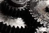 Oiled gears as small parts of large mechanism — ストック写真