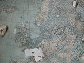 Vintage map (fragment of the globe) of the old Western Europe in — Stock Photo