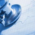 ECG and stethoscope medical examination tools — Stock Photo #70261511