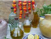 A display of olive oil — Stock Photo