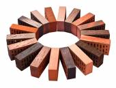Collection of facing bricks isolated included clipping path — Stock Photo