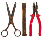 Old isolated tools:scissors, chisel, pliers — Stock Photo