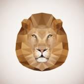 Polygonal lion. Vector illustration — Wektor stockowy