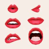 Polygonal mouth and lips. Vector illustration — Stock Vector