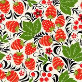 Khokhloma seamless pattern - strawberry. Vector illustration — Stock Vector