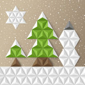 Christmas geometrical background with fir-trees. Vector illustra — Stock vektor