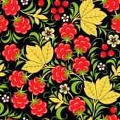 Khokhloma seamless pattern - raspberry. Vector illustration — Stock Vector