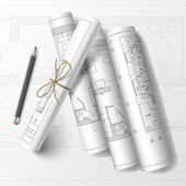 Rolled drafts with a pencil. Vector illustration — Stock Vector