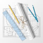 Rolled drafts with a pencil, a ruler and compasses. Vector illus — Stock Vector