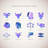 Geometrical zodiac signs. Vector illustration — Stock Vector