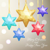 New Year's geometrical background with tree decorations. Vector  — Stock Vector