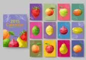 2015 Wall calendar - polygonal fruit. Vector illustration — Stockvektor