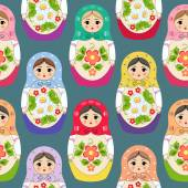 Seamless background with nested dolls. Vector illustration — Stock Vector