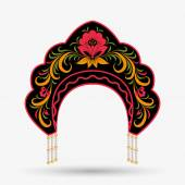 Kokoshnik in style Khokhloma. Vector illustration — Vettoriale Stock