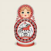 Russian dolls - matryoshka in style Mezen. Vector illustration — Stock Vector