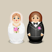 Nested dolls - the groom and the bride. Vector illustration — Stock Vector