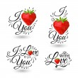 Stylized inscription I Love You with polygonal strawberry on white background — Stock Vector #70139347