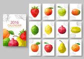 Wall calendar 2016 - polygonal fruit and berries. Vector illustr — Stock Vector