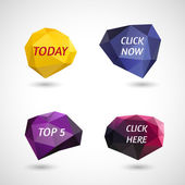 Set of polygonal elements with inscriptions Today, Click Now, Top 5, Click Here — Stock Vector