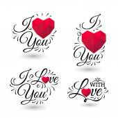 Stylized inscription I Love You with polygonal heart on white background — Stockvector