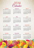 Autumn calendar 2016. Vector illustration — Stock Vector