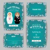 Set of wedding invitations and announcements with nested dolls. Vector illustration — Stock Vector