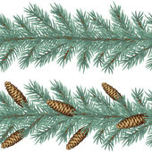 Vector horizontal seamless background with fir tree branches and cones. — Stock Vector