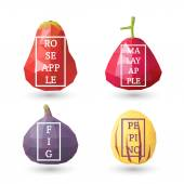 Set of polygonal fruit - rose and malay apple, pepino, fig with design inscription. Vector illustration — Stock Vector