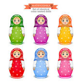 Set of identical color nested dolls. Vector illustration — Stock Vector