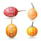 Set of polygonal fruit - tamarillo, lulo, medlar, passionfruit with design inscription. Vector illustration — Stock Vector