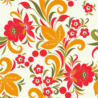 Khokhloma seamless pattern - strawberry. Vector illustration
