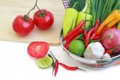 Vegetables in metal colander  — Stock Photo