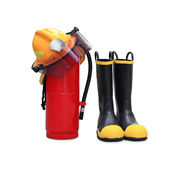 Helmet shoes and extinguisher — Stock Photo