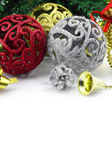 Christmas background with a silver and red ornament and decorati — Stock Photo