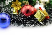 Christmas background with a red and blue ornament and decoration — Stock Photo