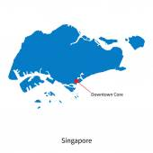 Detailed vector map of Singapore and capital city Downtown Core — Stock Vector