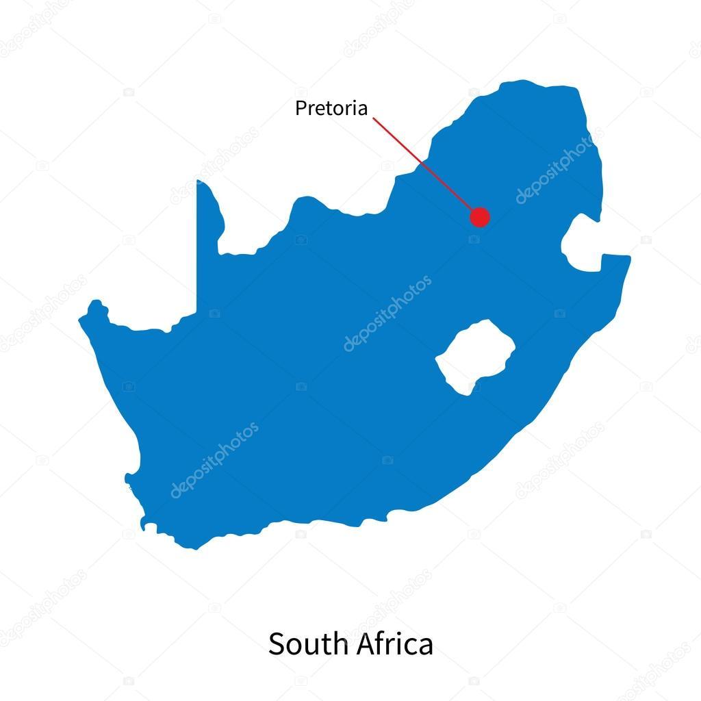 详细的矢量地图的南非和资本市比勒陀利亚