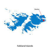 Detailed vector map of Falkland Islands and capital city Stanley — Stock Vector