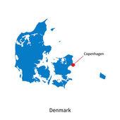 Detailed vector map of Denmark and capital city Copenhagen — Vector de stock