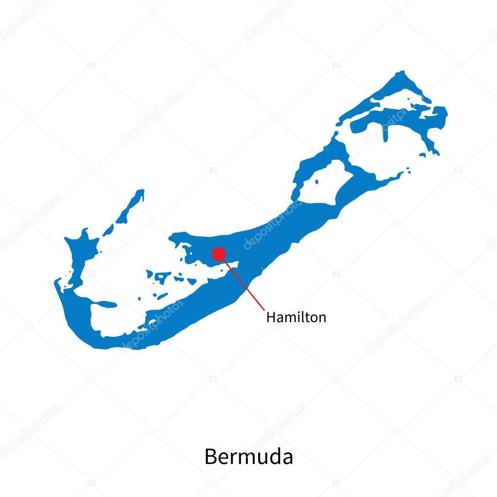 详细的矢量地图的百慕大和首都汉密尔顿