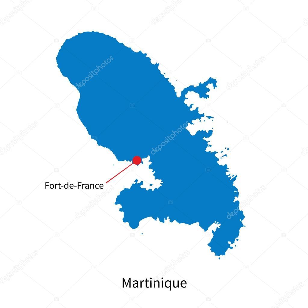 详细的矢量地图的马提尼克岛和资本市法兰西堡