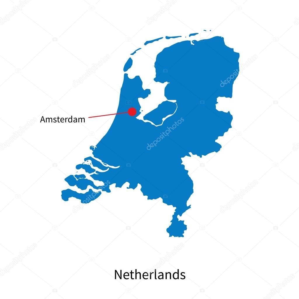 详细的矢量地图的荷兰首都阿姆斯特丹市