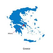 Detailed vector map of Greece and capital city Athens — Stock Vector