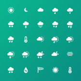 Weather icons on green background. — Stock Vector