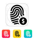 Fingerprint with USD currency symbol and money label icon. — Stock Vector