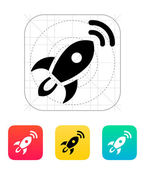Rocket with radar icon on white background. — Stock Vector
