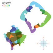 Abstract vector color map of Kosovo with transparent paint effect. — Stock Vector