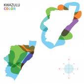 Abstract vector color map of KwaZulu with transparent paint effect. — Stock Vector