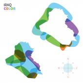 Abstract vector color map of Iraq with transparent paint effect. — Stock Vector