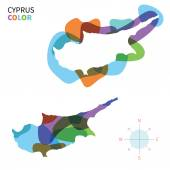 Abstract vector color map of Cyprus with transparent paint effect. — Stock Vector